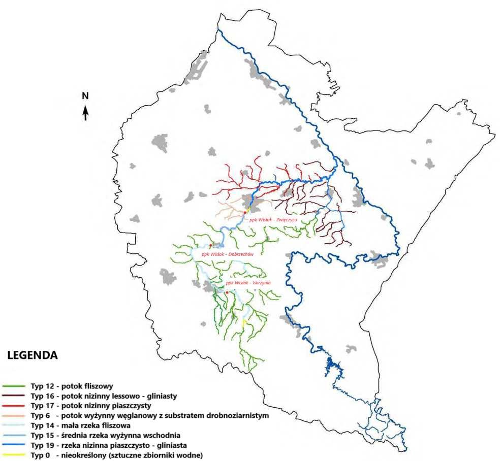 Typologia jednolitych części wód powierzchniowych w zlewni rzeki Wisłok