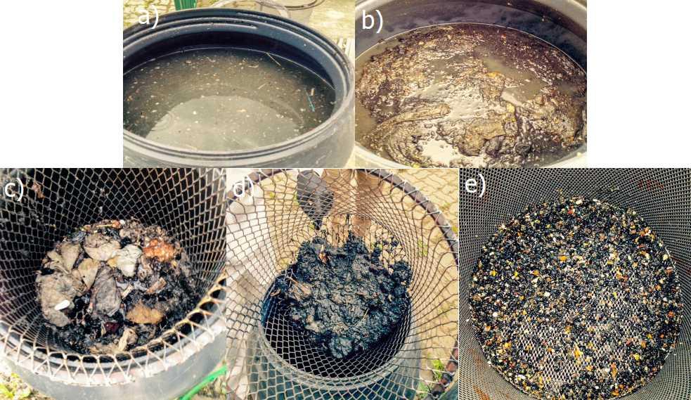 Surowy materiał odpadowy pobrany z komory samochodu specjalistycznego; b) Osad wstępnie odwodniony oraz pozbawiony dużych elementów o wymiarach powyżej 10×10 cm; c-e) Kolejne frakcje odpadowe.